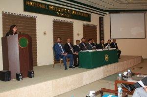 Ms. Rizwan Khan, Former DG Press Information Deptt. , Karachi review the Syndicate-II presentation (Prime Minister's Taskforce to Improve the Rules & Regulation for Media in Pakistan)